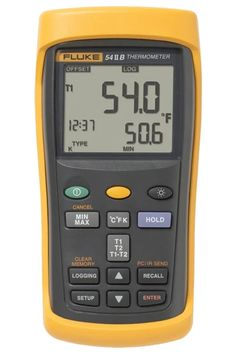 Fluke 54 II B dual input digital thermometer can log up to 500 points of data to internal memory. Fast response and laboratory accuracy. Take contact temperatures with industrial standard J, K, T, E, N, R, and S type thermocouple temperature sensors