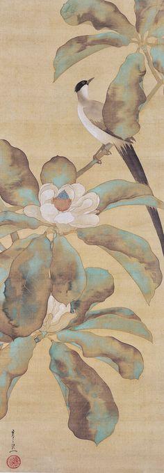 Suzuki Kiitsu. 鈴木其一作『朴に尾長鳥図』(細見美術館蔵. Bird and Flowers scroll. Japanese painting. Nineteenth century. Hosomi Museum. Rinpa School.