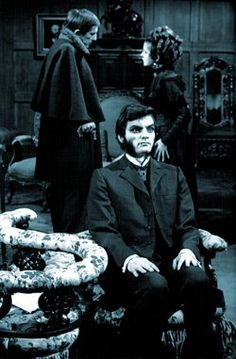 David Selby as Quentin Collins in Dark Shadows, with Jonathan Frid as Barnabas and Joan Bennett as Naomi Collins