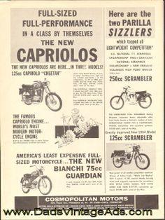1963 Capriolo Cheetah, Parilla & Bianchi Guardian  Vintage #Motorcycle Ad