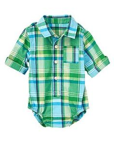 Plaid Poplin Bodysuit: crazy8 This store is amazing, plus the onesie button ups are a must if you want to dress up baby without the fuss of riding up shirts!