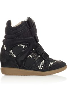 Isabel Marant|The Bekett printed canvas and suede concealed wedge sneakers