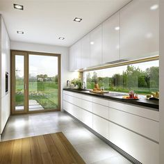 The Ideal Approach to Awesome Kitchen Window Design In feng shui, the kitchen is regarded as the area of the house that sustains life and nourishes the family, along with being a sign of wealth. Open Plan Kitchen Living Room, Kitchen Room Design, Kitchen Cabinet Design, Modern Kitchen Design, Home Decor Kitchen, Modern House Design, Interior Design Kitchen, Kitchen Ideas, Kitchen Inspiration