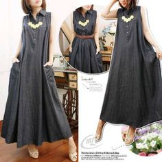 Jual long dress jeans miranda maxi S425