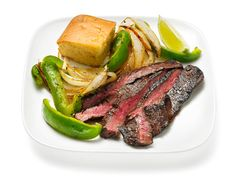 Cocoa and Coffee Rubbed Steak with Peppers, Onions and Cornbread