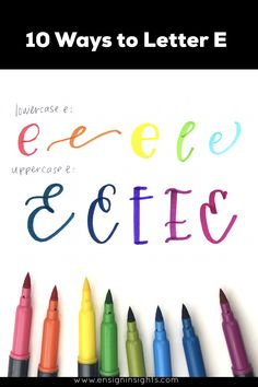 How to Hand Letter E in 10 Lettering styles. See some great brush lettering inspiration to create your own unique lettering styles. Handwriting Alphabet, Hand Lettering Alphabet, Doodle Lettering, Creative Lettering, Lettering Styles, Brush Lettering, Lettering Ideas, Cursive, Monogram Fonts
