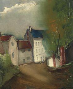 """L'entrée du village, Maurice de Vlaminck. French (1876 - 1958). Maurice de Vlaminck (París, 4 de abril de 1876 - Eure-et-Loir, 11 de octubre de 1958) fue un pintor fauvista francés. Vlaminck fue uno de los pintores que causaron escándalo en el Salón de otoño de 1905, que recibió el apelativo de """"jaula de fieras"""", dando nombre al movimiento del que formaba parte junto a Henri Matisse, André Derain, Raoul Dufy y otros."""