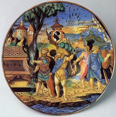 This splendid plate formed part of one of the largest majolica services ever made, commissioned by Piero Maria Pucci (1467–1547) of Florence, whose arms are visible at the center. Highly distinguished in the first half of the sixteenth century, Pucci family members served under the Medici popes Leo X (r