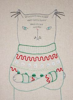 Ugly Christmas Sweater Cat Embroidery Sampler