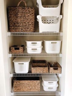 How To Create The Perfectly Organized Bathroom Closet — She Gave It A Go - Do you like a good before and after? Our bathroom closet was TRANSFORMED from messy and crowded t - Bathroom Closet Organization, Diy Organization, Bathroom Storage, Organized Bathroom, Organizing Ideas, Bathroom Cabinets, Organized Closets, Restroom Cabinets, Closet Storage