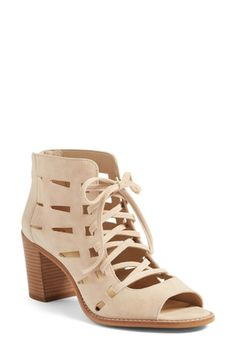 On SALE at OFF! tressa perforated lace-up sandal by Vince Camuto. Breezy cutouts and an open lace-up front give one-of-a-kind appeal to an inventive open-toe sandal lifted by a smart,. Shoes Heels Wedges, Lace Up Sandals, Open Toe Sandals, Mules Shoes, Shoes Sandals, Open Toe Boots, Cute Boots, Vince Camuto Shoes, Suede Booties