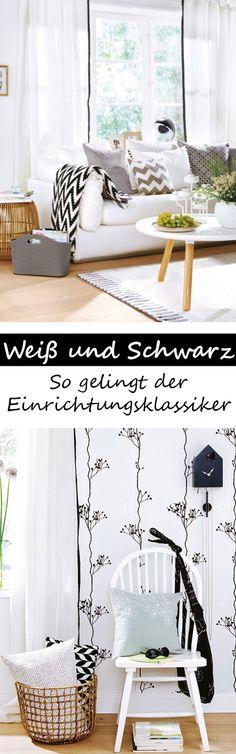 SCHWARZ & WEISS ist ein tolles Einrichtungs-Duo fürs Wohnzimmer! Damit der Kontrast gelingt, achtest du auf diese Details >>>