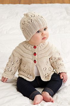 Ravelry: Easy Lace Raglan Jacket & Hat by Nazanin S. Fard