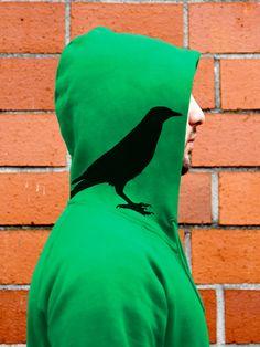 """Hoodies & Sweatshirts - """"Rabenflüsterer"""" HOODY FAIR WEAR - ein Designerstück von Handgedruckt bei DaWanda"""