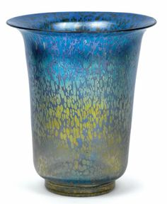 A vase, Loetz Witwe, Klostermühle, c. 1935, the colourless glass shaded blue from the neck downwards and decorated with applied silver-yellow splashes, iridescence, height 25 cm