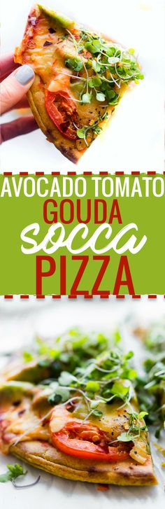 This Avocado Tomato Gouda Socca Pizza recipe is gonna make you fall in love WITH pizza even more! Grain free, gluten free, Seriously easy to make, egg free, vegan option, delicious! www.cottercrunch.com