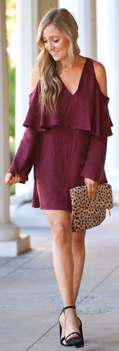 Burgundy Open Shoulder Dress / Leopard Clutch / Black Pumps