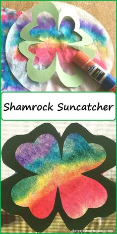 Gorgeous St. Patrick's Day craft! A beautiful and colorful shamrock suncatcher!