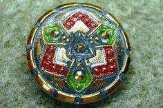 """Czech Glass Button 10""""= 23mm - hand painted - knot, red, green, blue, gold (B23275)"""