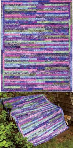 "LINE BY LINE QUILT PATTERN $9.00 Quilt Size: 58"" x 75"" Large Throw  • Project: Pieced  • Project rating: Easy"