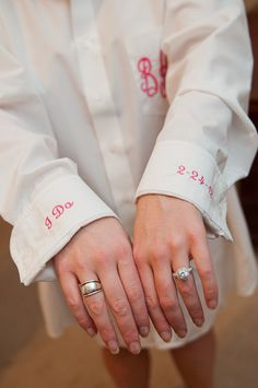 Monogrammed oversize button down shirt for the bride. So she doesn't mess her hair or makeup up while putting the dress on.