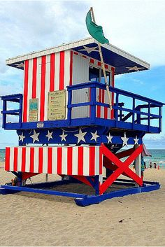 Colourful lifeguard house on South Beach in Florida.