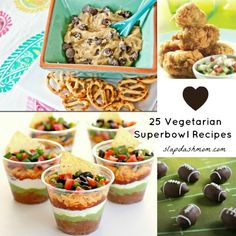 Vegetarian Super Bowl Recipes -- those dip cups look amazing! Platt Bandley Alease let's try some of these ; Healthy Superbowl Snacks, Vegetarian Snacks, Vegetarian Cooking, Quick Snacks, Vegan Cookbook, Vegan Main Dishes, Football Food, Game Day Food, Food Inspiration