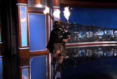 Unicycling Darth Vader Plays the 'Star Wars' Theme Song with Flaming Bagpipes on 'Jimmy Kimmel Live'