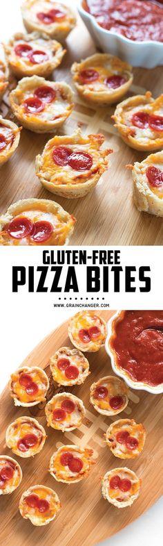 Gluten-Free Pizza Bites - perfect appetizer for the Super Bowl! | http://www.grainchanger.com
