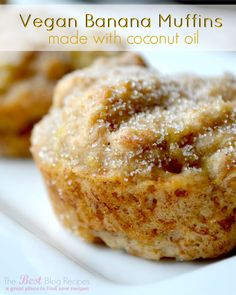 Vegan Banana Muffins made w/ Coconut Oil!  A healthy and seriously delicious treat that you're whole family will love!
