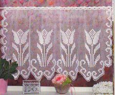 Tulip crochet curtain, filet work ♥LCC-MRS♥ with diagram
