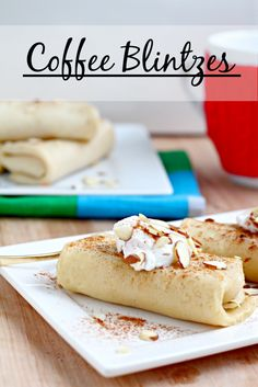 Coffee Blintzes- these Jewish crepes are perfect for breakfast. The coffee is already in there! Made healthy with Greek yogurt. Delicious Desserts, Dessert Recipes, Yummy Food, Yummy Yummy, Kosher Recipes, Cooking Recipes, What's Cooking, Breakfast Crepes, Sweet Breakfast