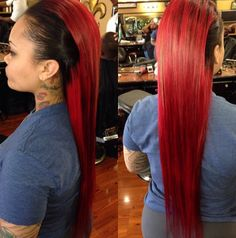 Half Red And Half Black Hairstyles