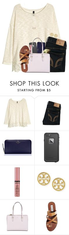 """i officially hate science ;)"" by tessbartoszek ❤ liked on Polyvore featuring beauty, H&M, Hollister Co., Kate Spade, LifeProof, NYX, Tory Burch, Steve Madden and Kendra Scott"