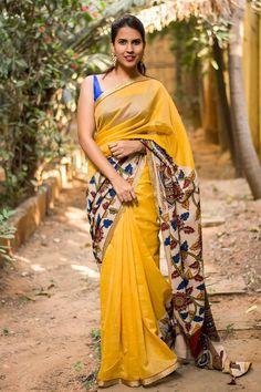 Yellow chettinadu chanderi soft silk cotton saree with printed Kalamkari cross pallu #saree #blouse #houseofblouse #indian #bollywood #style #ethnic #yellow #chettinadu #chanderi #kalamkari #crosspallu