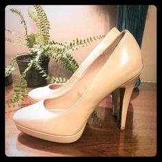 Elle Nude patent leather heels Very cute Nude patent leather heels! Worn once, great condition! Elle Shoes Heels