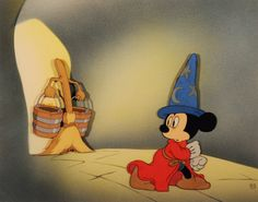 "Mickey Mouse and the Broom Fantasia ""The Sorcerer's Apprentice"" (Walt Disney Studio, 1940) Full color animation cel Courvoisier setup"