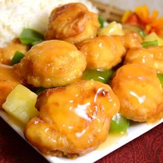 """Sweet and Sour Chicken I""""Pan fried chicken cubes served with a sweet and sour sauce. Food Dishes, Main Dishes, Arroz Frito, Sweet Sour Chicken, Asian Cooking, Cooking Salmon, Fried Chicken, Chicken Batter, Chicken Sauce"""