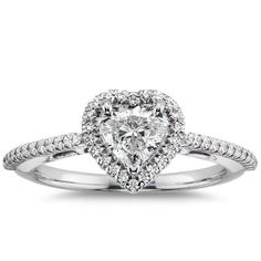 Heart Shaped Halo Diamond Engagement Ring in 14K White Gold $1,782.00