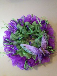 Purple/Green Spring Deco Mesh Wreath w/Butterflies and Deco Flex Tubing Ribbon