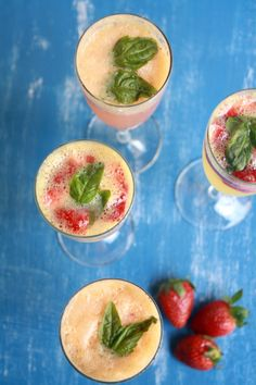 Strawberry Mimosas by Gayatri, also known as The Desserted Girl. A perfect drink for Valentine's Day, created using Big Banyan Wine.