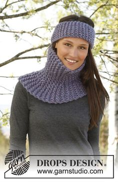 "Set consists of: Knitted DROPS neck warmer and head band in garter st in ""Polaris"". ~ DROPS Design"