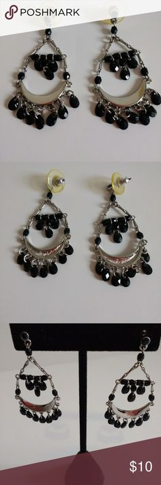 "1/2 Moon Dangling Earrings These are 1/2 Moon Dangling, Black Beads and Silver tone. 2"" Gypsy's. For pierced ears. Bought at Macy's.EUC. Macy's Jewelry Earrings"