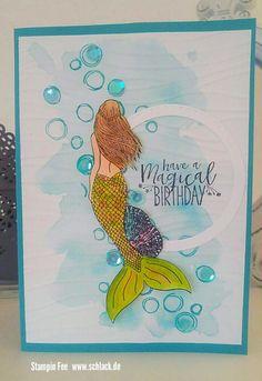 Stampin' Up! magical mermaid Meerjungfrau birthday Geburtstag wink of stella shimmer glitter glitzer Kids Birthday Cards, Handmade Birthday Cards, Greeting Cards Handmade, Stampin Up Catalog 2017, Mermaid Crafts, Nautical Cards, Beach Cards, Wink Of Stella, Kids Cards