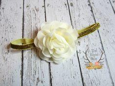 Cream & Gold Glitter Headband   Baby Photo Prop  by TheRogueBaby, $6.95