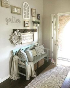 Snag This Look: Rustic Entryway. Snag This Look - Rustic Entryway - Create a beautiful rustic entryway that is inviting and functional - Entryway bench - Entryway Decor. living room decor You can find more details by visiting the image link. Modern Farmhouse Living Room Decor, Decor, Room Remodeling, Modern Farmhouse Decor, Rustic House, Farmhouse Decor Living Room, Modern Country Decor, Living Decor, House Interior