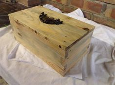Jewellery box made from pallet timber.  Vintage handle. Facebook/Ethereal Designs UK Wooden Gifts, Wooden Diy, Jewellery Box Making, Ethereal, Pewter, Sticks, Pallet, Upcycle, Recycling