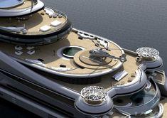 Fischteich und Sushi-Bar an Bord gefällig? Auf 163 Metern Länge und neun Decks hat sich Yacht-Designer Abdeslam Laraki aus Kalifornien voll ausgetobt.