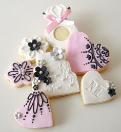 Boudoir Bridal mix or Valentine Heart cookies, decorated with royal flow flood icing.