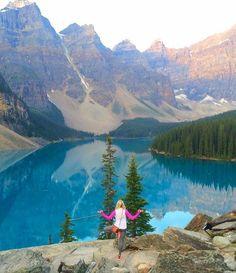 Yoga at Moraine Lake Alberta by @Kayla_Peterson. Yogi goals & yoga inspiration.
